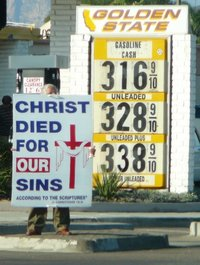 Christ died for $3.16 per gallon